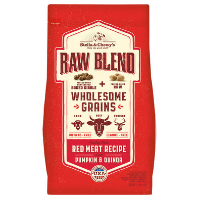 Dog Raw Blend Kibble With Wholesome Grains, Red Meat Recipe