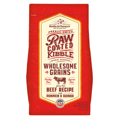 Dog Raw Coated Kibble With Wholesome Grains, Grass-Fed Beef