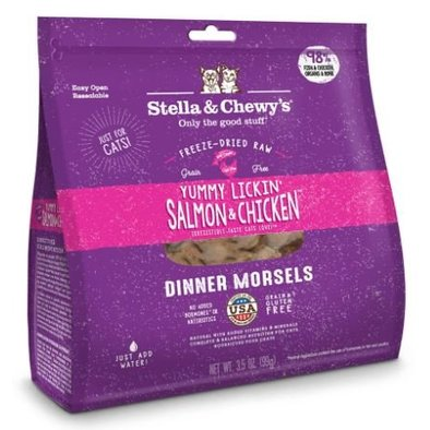 Cat Freeze-Dried Raw, Yummy Lickin' Salmon & Chicken Dinner Morsels - 227 g