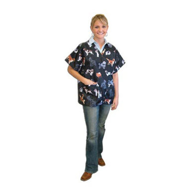 Scrub Top - Black Breed Print
