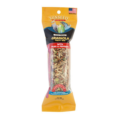 Grainola Bar, Peas & Peppers for Cockatiels, Parakeets & Lovebirds - 2.5 oz