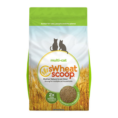 Multi-Cat Unscented Natural Clumping Wheat Cat Litter - 11.36 kg