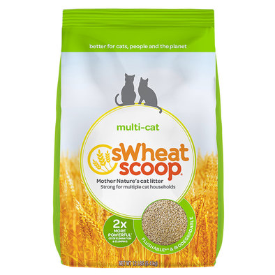 Multi-Cat Unscented Natural Clumping Wheat Cat Litter - 5.44 kg