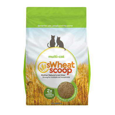 Multi-Cat Unscented Natural Clumping Wheat Cat Litter - 16.36 kg