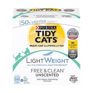LightWeight Free & Clean Unscented Clumping Cat Litter for Multiple Cats