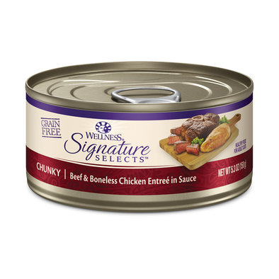 Canned Cat Food, Signature Selects Chunky, Beef & White Meat Chicken - 5.3 oz