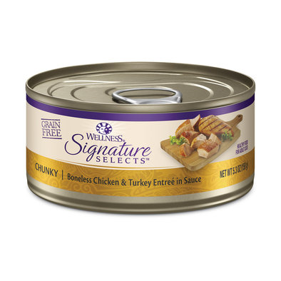 Canned Cat Food, Signature Selects Chunky, Turkey & White Meat Chicken - 5.3 oz