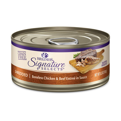 Canned Cat Food, Signature Selects Shredded, White Meat Chicken & Beef - 5.3 oz