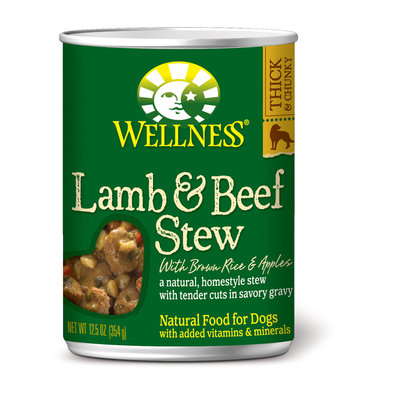 Canned Dog Food, Chunks & Gravy, Lamb & Beef Stew with Brown Rice & Apples - 12.5 oz