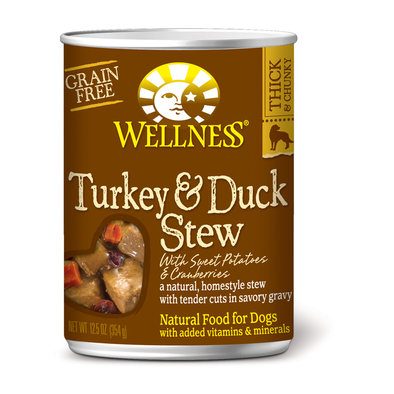 Canned Dog Food, Chunks & Gravy, Turkey & Duck Stew with Sweet Potatoes & Cranberries - 12