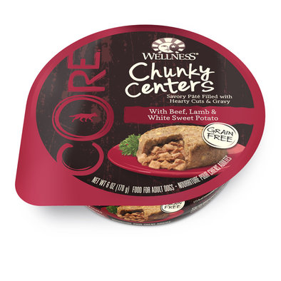 Core Chunky Centers. Wet Dog With Beef, Lamb & White Sweet Potato - 6 Oz