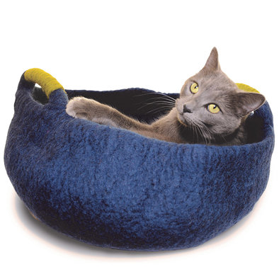 Wool Pet Basket Handles - Navy - 20""