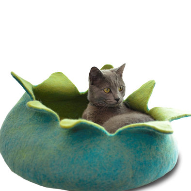 Wool Pet Basket Petals - Aqua/Green - 20""