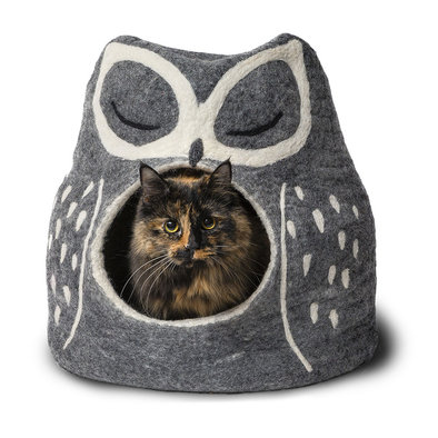 Wool Pet Cave - Owl - Grey